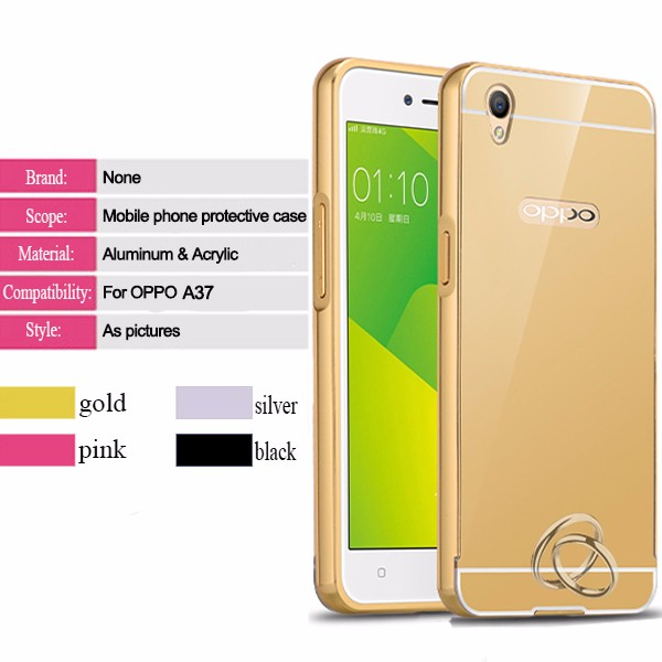 Fashion Style Premuim Mirror Aluminum Metal Bumper Case For Oppo a37 Back Cover
