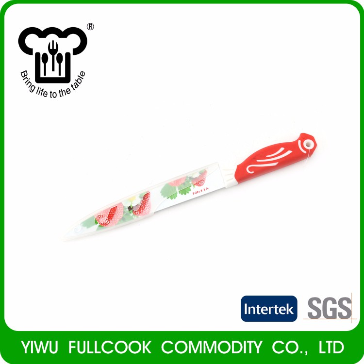 Latest arrival fruit pattern colored stainless paring fruit knife with cover