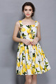 lemon printed ruffle slip dress European latest style woman vest skirt China garment manufacture