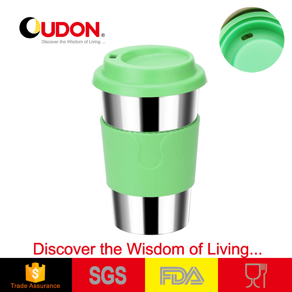 double wall stainless steel coffee mug with rubber