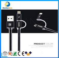 High quality 2 in 1 data cable with LED light usb cable for micro/apple