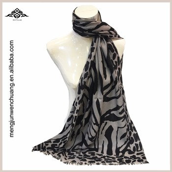 Fashion Thin Leopard 100% Wool Scarf