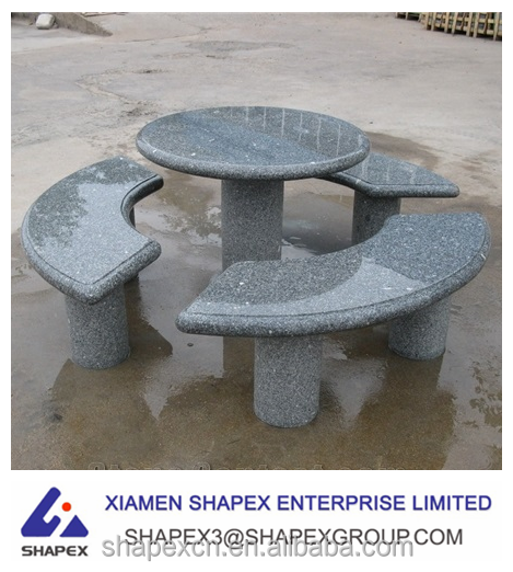 Hot sale dark grey outdoor granite table and chairs