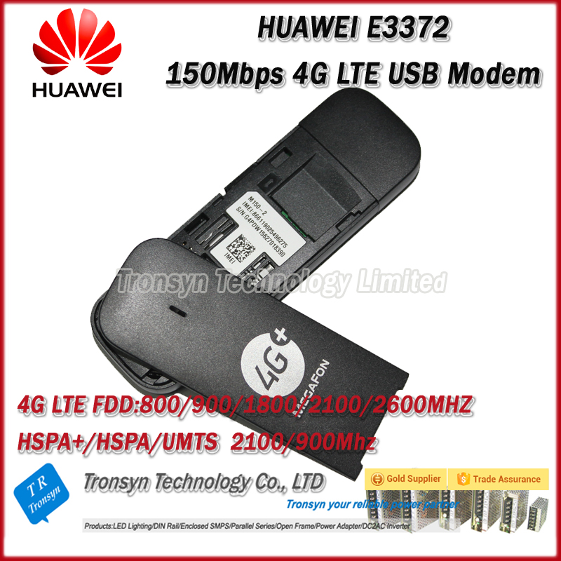 New Arrival Original Unlock E3372 150Mbps 4G USB Modem With Sim Card Slot Support 800/900/1800/2100/2600Mhz