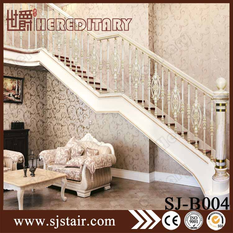 European hot sale style pearl white cast aluminum stair railing design price