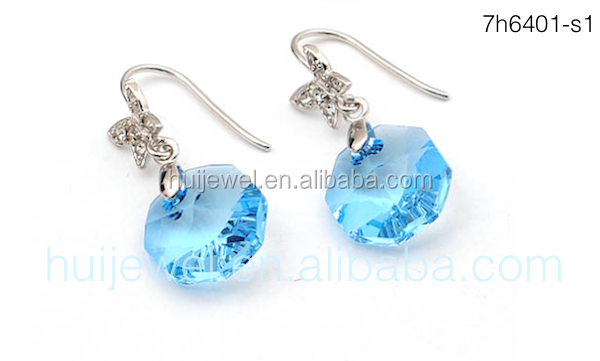 12mm aquamarine austrian crystal earrings jewelry 925 silver jewelry
