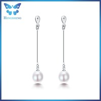 Modern design pearl earrings small drop pearl dangle earring cultured freshwater pearl stud earring