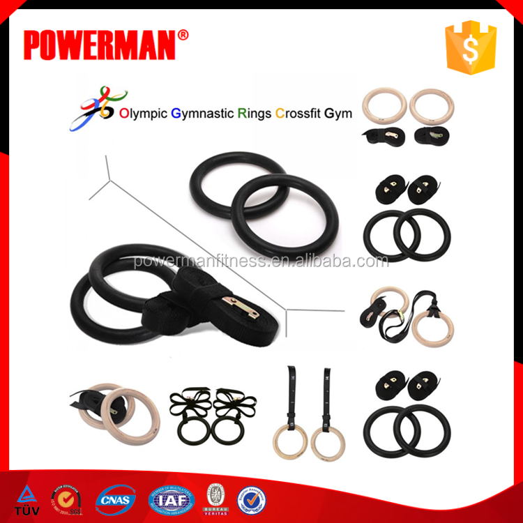 PowerMan Crossfit Wooden Gymnastic Rings with Nylon Strap
