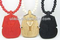 Good Quality Pharaoh King Tut Pendant Wood Ball Bead Chain Necklace