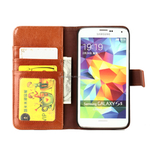 Real top layer leather for samsung galaxy s5 flip wallet case