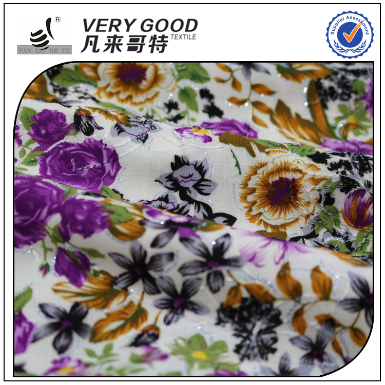 Good price silver embroidery woven 100 rayon fabric, spun rayon