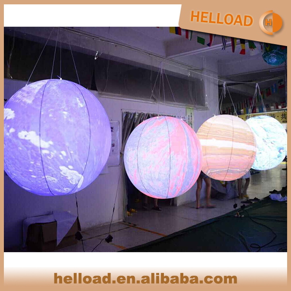 Customized design inflatable planets with led light for decoration