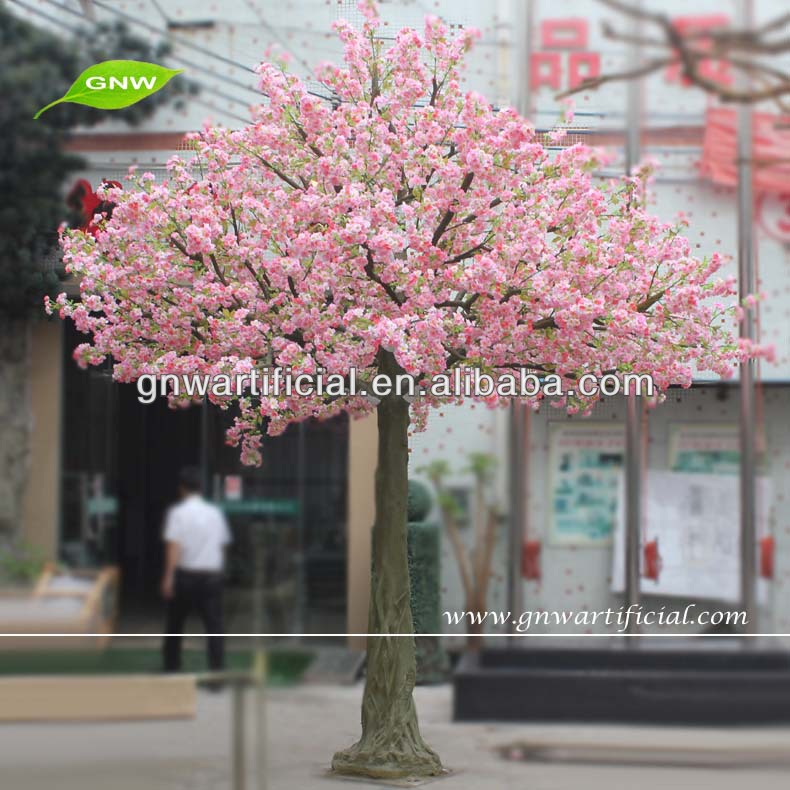 BLS026 GNW 14ft plastic pink wedding garden decoration artificial Outdoor Cherry Blossom flower Trees