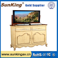 wooden case equipment tv stand tv lift cabinet