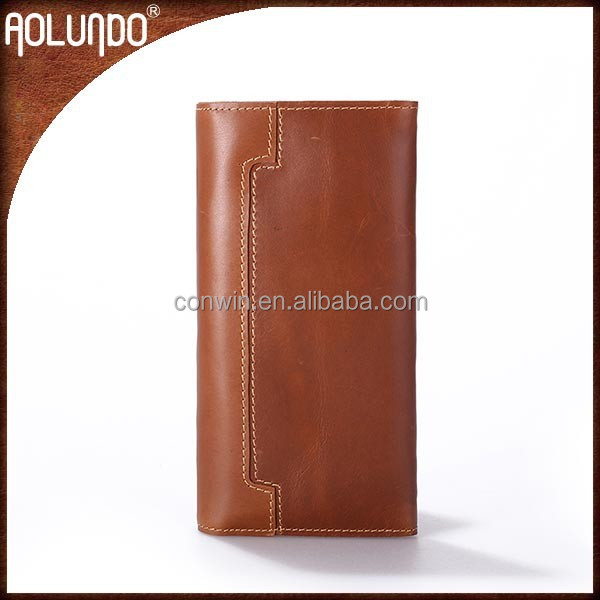 Slim men's brown leather branded wallet