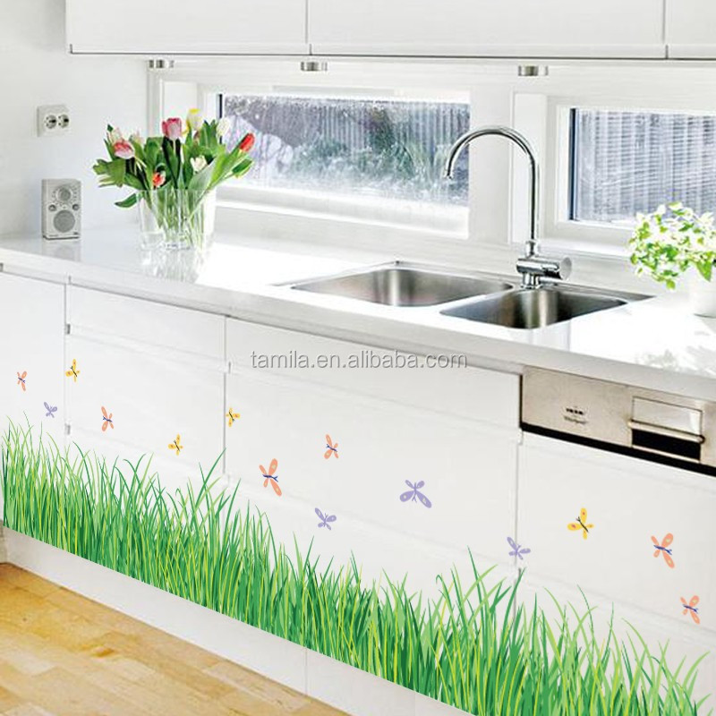 Flowers grass border wall sticker home decor diy adhesive art mural picture poster removable wallpaper