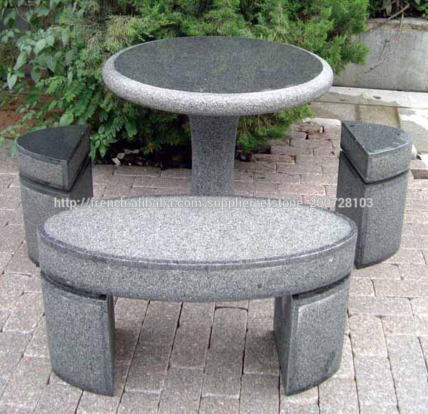 Table en pierre moins cher et le banc de la chine tables d for Table exterieur pierre