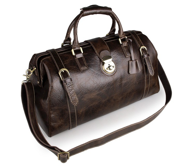 7281CJ.M.D Vintage Genuine Leather Locked Duffle Bag For Men Travel Bag