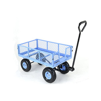 heavy duty steel mesh Utility garden tools Cart wagon with Removable Folding Sides