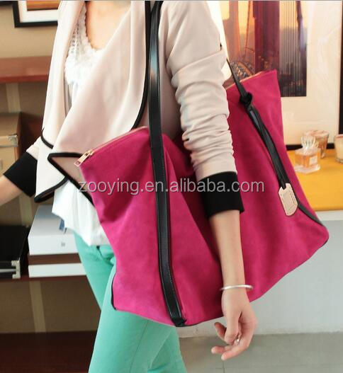 large capacity travelling Nubuck Leather women bag