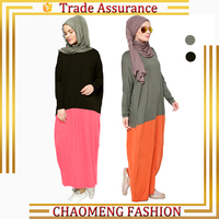 Long Sleeve Losse Style Cotton Dress Color Block Muslim Basic Wear For Baju Kurung Malaysia