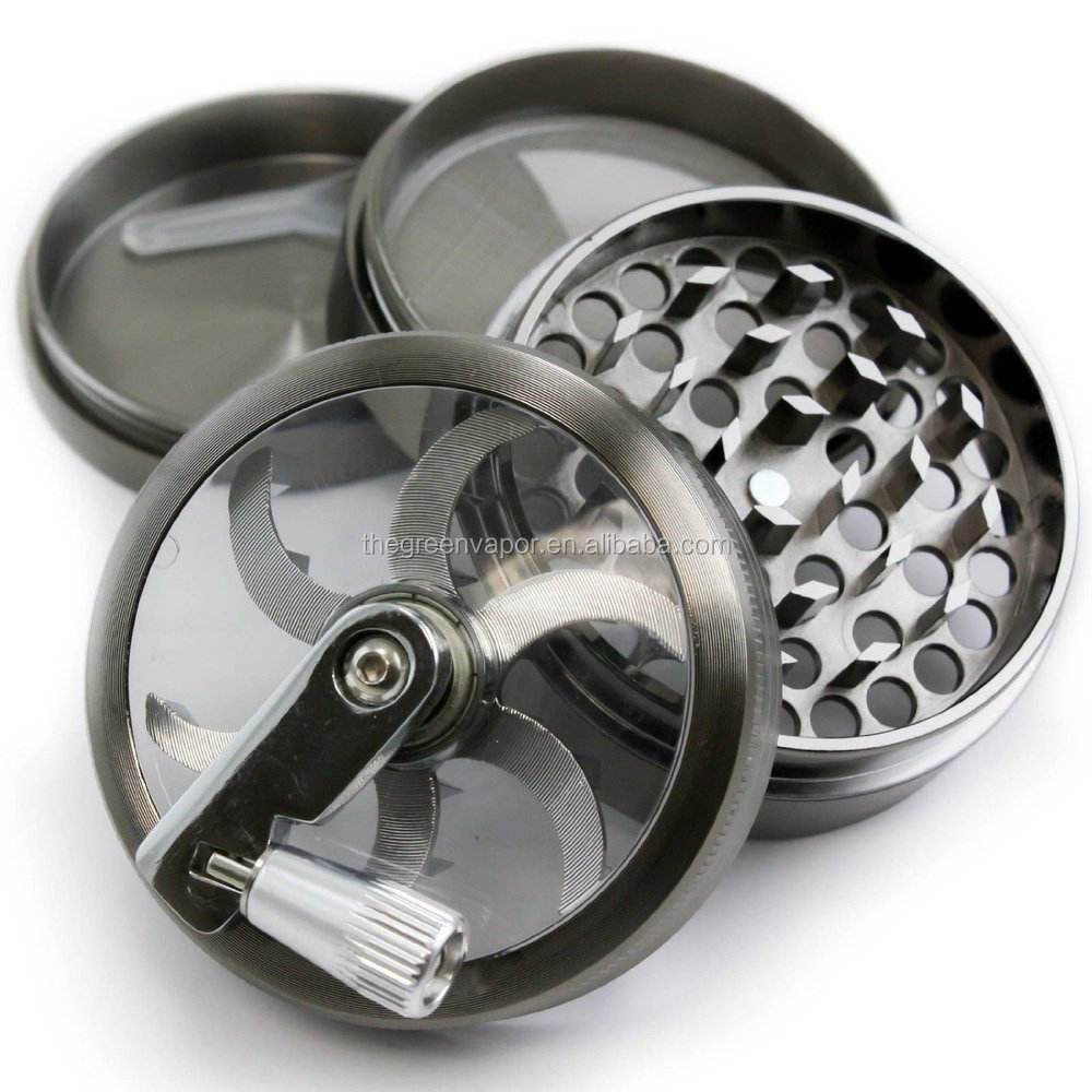 China online selling zinc and aluminum herb grinder, manual grinder weed, portable weed grinder with handle
