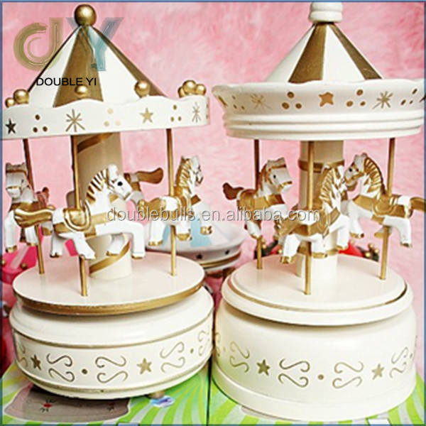 Pink white blue Mini Carousel horse wooden music box movements wholesale