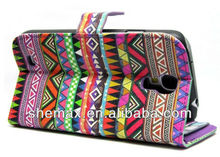 Colorful Tribal Design PU Wallet leather Folio case cover skin with Three Credit Card Holder for Samsung Galaxy S4