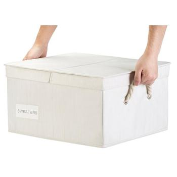 Large Home Decoration Classical Non-Woven Fabric Foldable Big White Storage Boxes for Home Clothes