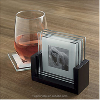 Custom square glass photo frame coaster,table mats for wedding favour/gift