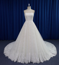 Queenly boob tube top design alencon lace cathedral train wedding dress design