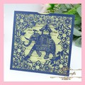 MR083 Elephant Animal Carved Pattern Unique Design Wedding Supplies Paper Laser Cut Invitation Card