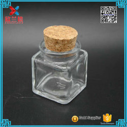 30ml small glass square wishing bottle with wooden cork