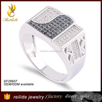 Latest design popular DF28837 beautiful men's silver rings arabic;925 silver cubic zirconia jewellery ring