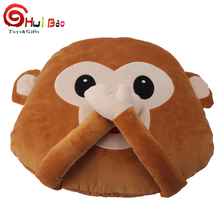 soft plush travel monkey emoji custom pillow