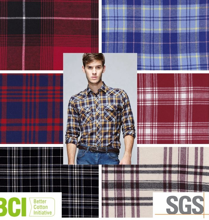 woven yarn dyed cotton flannel latest shirt fabric designs for men