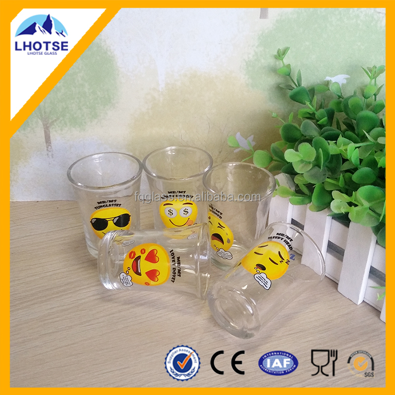 2oz 50ml high white shot glass with emoj decaled from Anhui factory