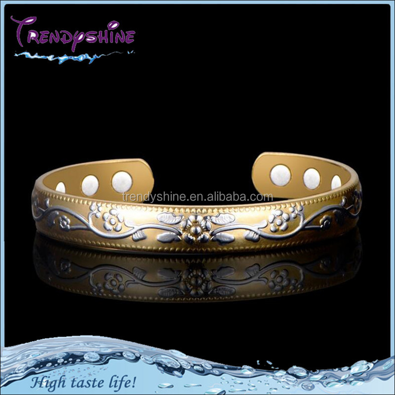 Cheap wholesale 18k gold copper magnetic bracelet benefit