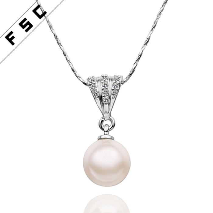 Fashion accessories cheap white gold plated pearl pendant necklace for women