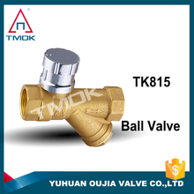 sand balsted magnetic lockable Brass ball valve with strainer/filter/percolator function Y strainer magnetic lockable ball valve