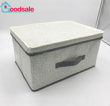 Household new design embossed non woven fabric storage organizer foldable storage cube box with cover