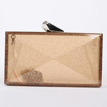 Low-cost supplier hot sale shiny box Acrylic clutch bag