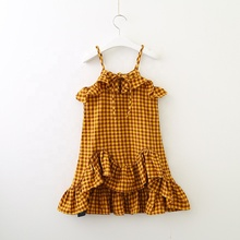 New girl <strong>girl's</strong> summer plaid halter skirt female baby flounce skirt places vest <strong>dress</strong>