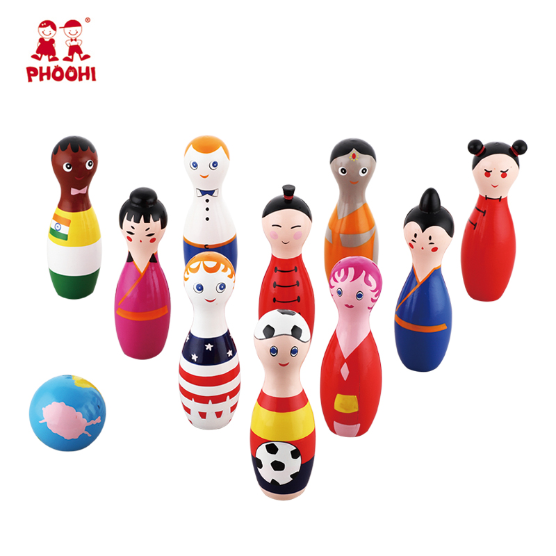 Around the world cartoon indoor bowling ball game wooden bowling toy for kids