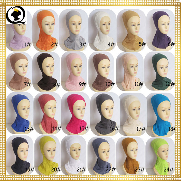 Winter Muslim headwear muslim women cap beautiful hijab cotton rivet fashion muslim scarf hat cap inner hijab solid color