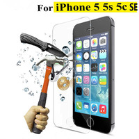High quality 0.3 mm 2.5D 9H Tempered Glass Screen Protector for iPhone 5 5S 5C SE