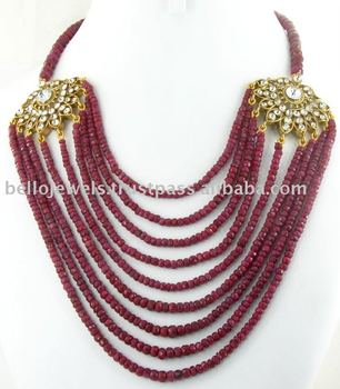 Natural African Ruby Beaded Necklace India- Bello Jewels Gurgaon