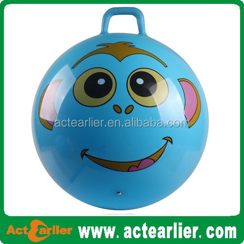 Eco-friendly PVC Inflatable priting handle jumping ball with handle /bouncy ball with handle for kids