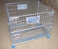 Galvanizing powder coating folding stackable steel wire container