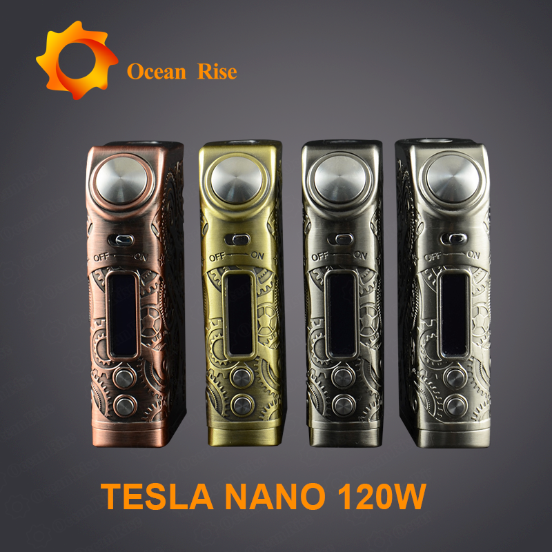 Original Design Tesla Nano 120W vapor/vape ecig colorful vape mod 25mm from oceanrise